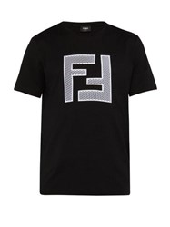 Fendi Mesh Logo Cotton Blend T Shirt Black Multi