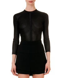 Givenchy Mesh Knit Round Neck Top Black