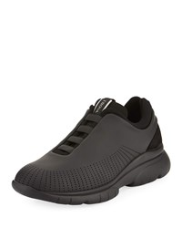 Ermenegildo Zegna Sprinter 2.0 Perforated Leather Trainer Sneakers Black