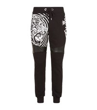 Philipp Plein Embroidered Logo And Tiger Print Sweatpants Male Black