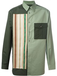 Ports 1961 Striped Applique Colour Block Shirt Green