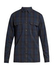Vince Checked Long Sleeved Cotton Shirt Blue Multi