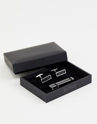 Boss Red Ted Cufflink And Tie Bar Gift Set In Black