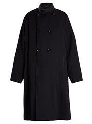 Yohji Yamamoto Regulation Double Breasted Oversized Wool Coat Navy