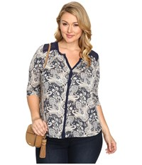 Lucky Brand Plus Size Printed Woven Mix Top Blue Multi Women's Clothing