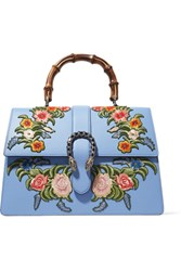 Gucci Dionysus Bamboo Large Appliqued Leather Tote Light Blue