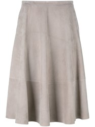 Drome Midi Leather Skirt Nude Neutrals