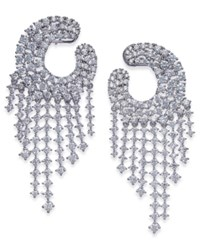 Joan Boyce Silver Tone Crystal Chandelier Earrings White