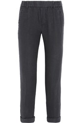 James Perse Linen Tapered Pants Dark Gray