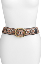 Lucky Brand Embroidered Medallion Belt Black