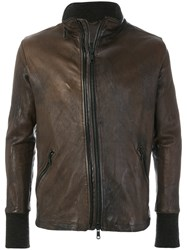 Giorgio Brato Slim Fit Leather Jacket Leather Polyester Wool Brown