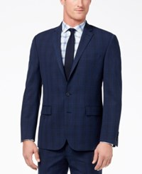 Ryan Seacrest Distinction Men's Ultimate Moves Slim Fit Stretch Blue Windowpane Suit Jacket Created For Macy's