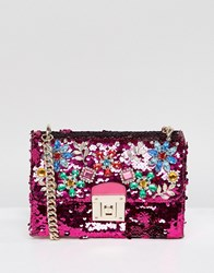 Aldo All Over Sequin Cross Body Bag With Floral Gem Embellishment Pink