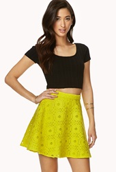 Forever 21 Retro Crochet Skater Skirt Lime