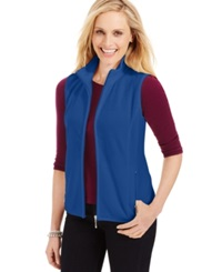 Karen Scott Mock Neck Zipper Vest Only At Macy's Deep Pacific