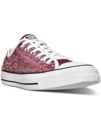 Converse Women's Chuck Taylor Ox Holiday Sparkle Casual Sneakers From Finish Line Passion Pink White Black