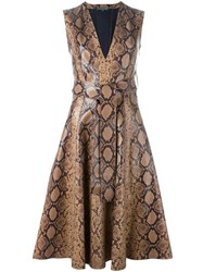 Alexander Mcqueen Python Print Dress Brown