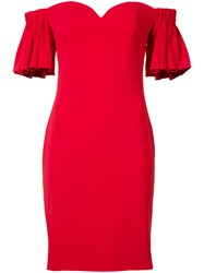 Badgley Mischka Ruffled Off Shoulders Fitted Dress Red