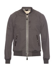Burberry Zip Front Bomber Jacket Grey
