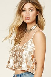 Forever 21 Sequin Cropped Cami Pink Champagne