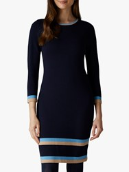 Jaeger Tipped Knitted Dress Navy