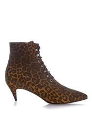 Saint Laurent Cat Leopard Print Suede Ankle Boots
