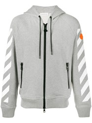 Moncler X Off White Printed Zip Up Hoodie Men Cotton S Grey