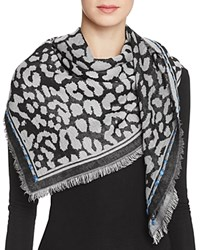 Fraas Animal Print Square Scarf Charcoal