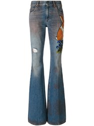 Gucci Embroidered Denim Pants Women Cotton Leather 26 Blue