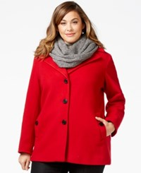 Calvin Klein Plus Size Wool Cashmere Blend Single Breasted Peacoat Crimson