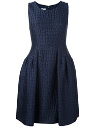 Armani Collezioni Patterned Flared Skirt Dress Blue