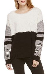 Women's Two By Vince Camuto Jacquard Crewneck Sweater New Ivory