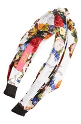 Cara Floral Knot Head Wrap White Multi