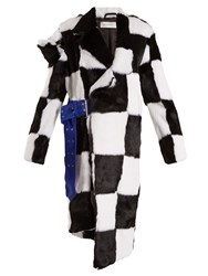 Marques Almeida Deconstructed Checkerboard Fur Coat White Black