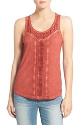 Hinge Women's Lace And Rib Knit Tank Red Ochre
