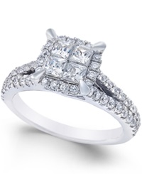 Macy's Square Quad Halo Diamond Engagement Ring 1 Ct. T.W. In 14K White Gold