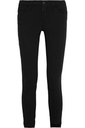 Frame Skinny De Jeanne Raw Stagger Mid Rise Jeans Black