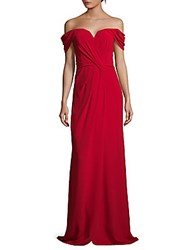 Rene Ruiz Off The Shoulder Floor Length Gown Berry