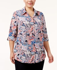 Charter Club Plus Size Paisley Print Shirt Only At Macy's Intrepid Blue