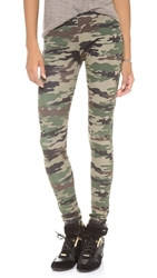 Plush Camo Print Leggings Green Camo