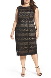 Gabby Skye Plus Size Women's Lace Midi Sheath Dress