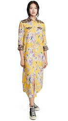 R 13 R13 3 4 Sleeve Cowboy Combo Dress Mustard Floral With Leopard