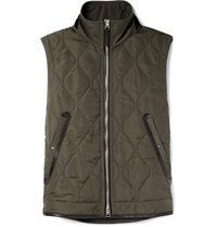 Tom Ford Leather Trimmed Quilted Nylon Gilet Green