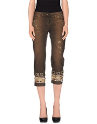 Lupattelli Denim Denim Capris Women Dark Brown