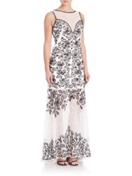 Sue Wong Floral Lace Trumpet Gown White Black