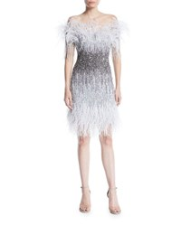 Pamella Roland Ostrich Feather Ombre Sequin Embroidered Cocktail Dress Gray Metallic