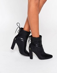 Truffle Collection Heeled Ankle Boot With Tie Back Black Stretch Pu