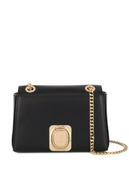 Balmain Logo Plaque Shoulder Bag Black