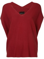 Aula Drop Shoulder Knitted Top Silk Cotton Rayon Red