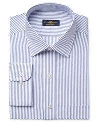 Club Room Estate Men's Classic Fit Wrinkle Resistant Blue End On End Bar Stripe Dress Shirt Only At Macy's